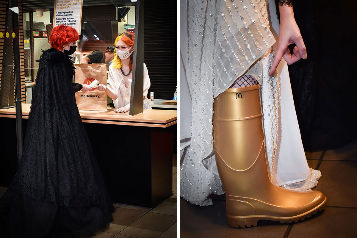 bride serving other bride at McDonalds on their Halloween wedding day and gold McDonalds welly boot