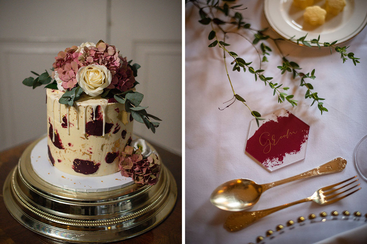 cream and red drip wedding cake by Lois Caked It and hexagonal groom place setting in red and gold