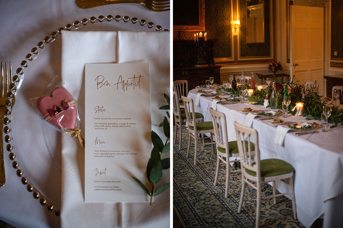 Bon Appetit gold wedding menu by Paper and Petals with pink heart lolly favour and white and gold charger plate
