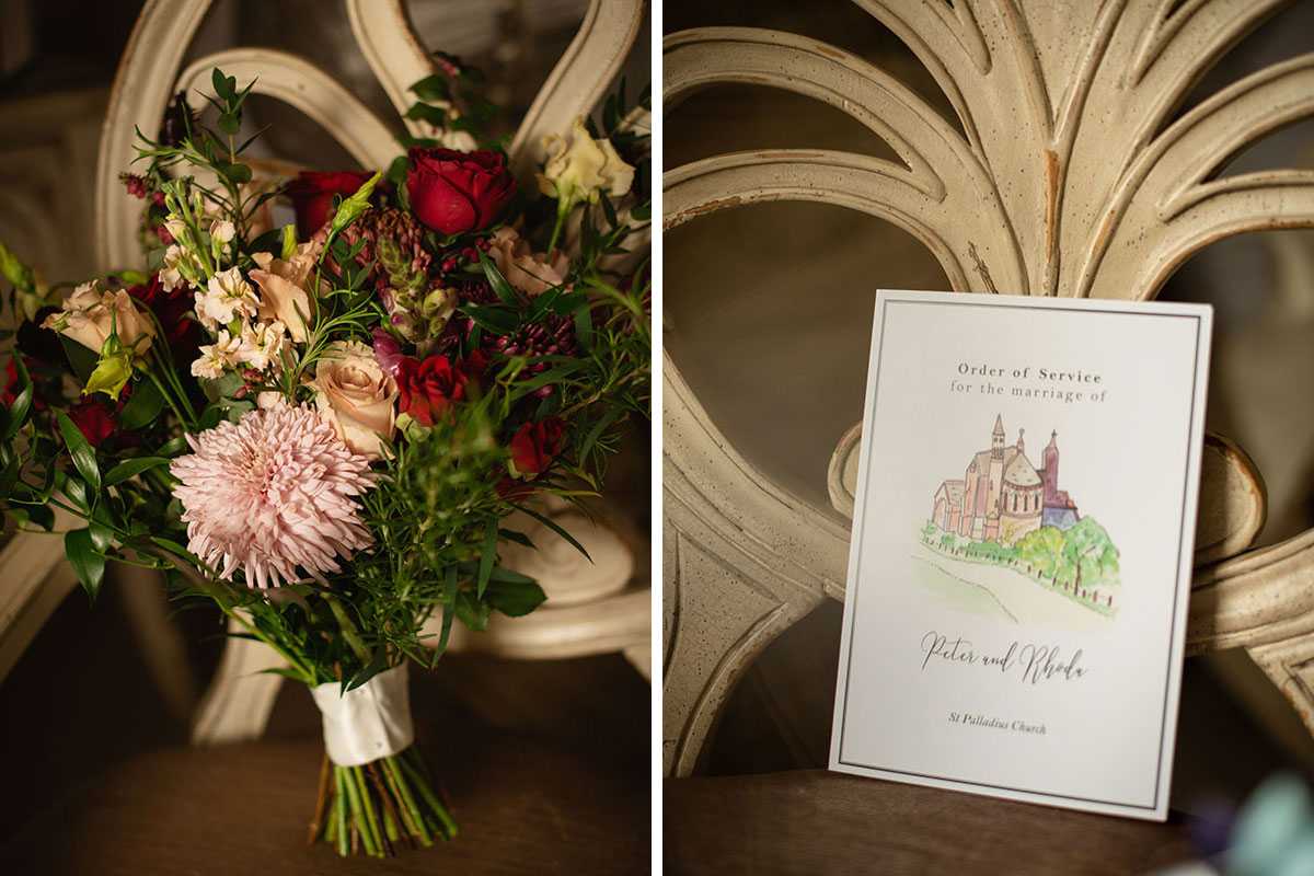 pink and red bridal bouquet by Kim Dalglish and illustrated order of service by Paper and Petals