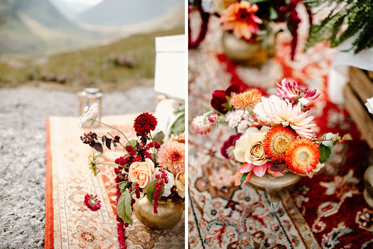 wedding flowers by Bothy Blooms sitting on Persian rug