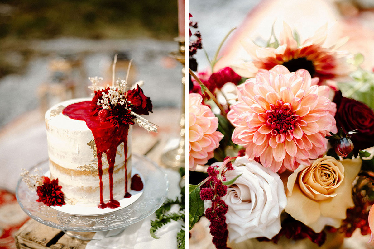drip wedding cake by Sweetcrumbs Edinburgh and close up of dahlia in wedding bouquet by Bothy Blooms