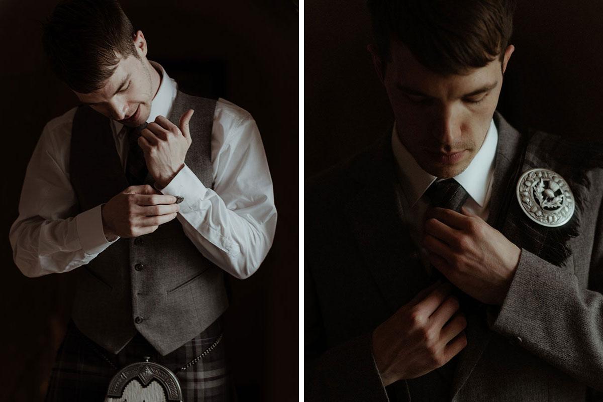 groom wearing MacGregor and MacDuff kilt jacket and waistcoat fixing cuffs