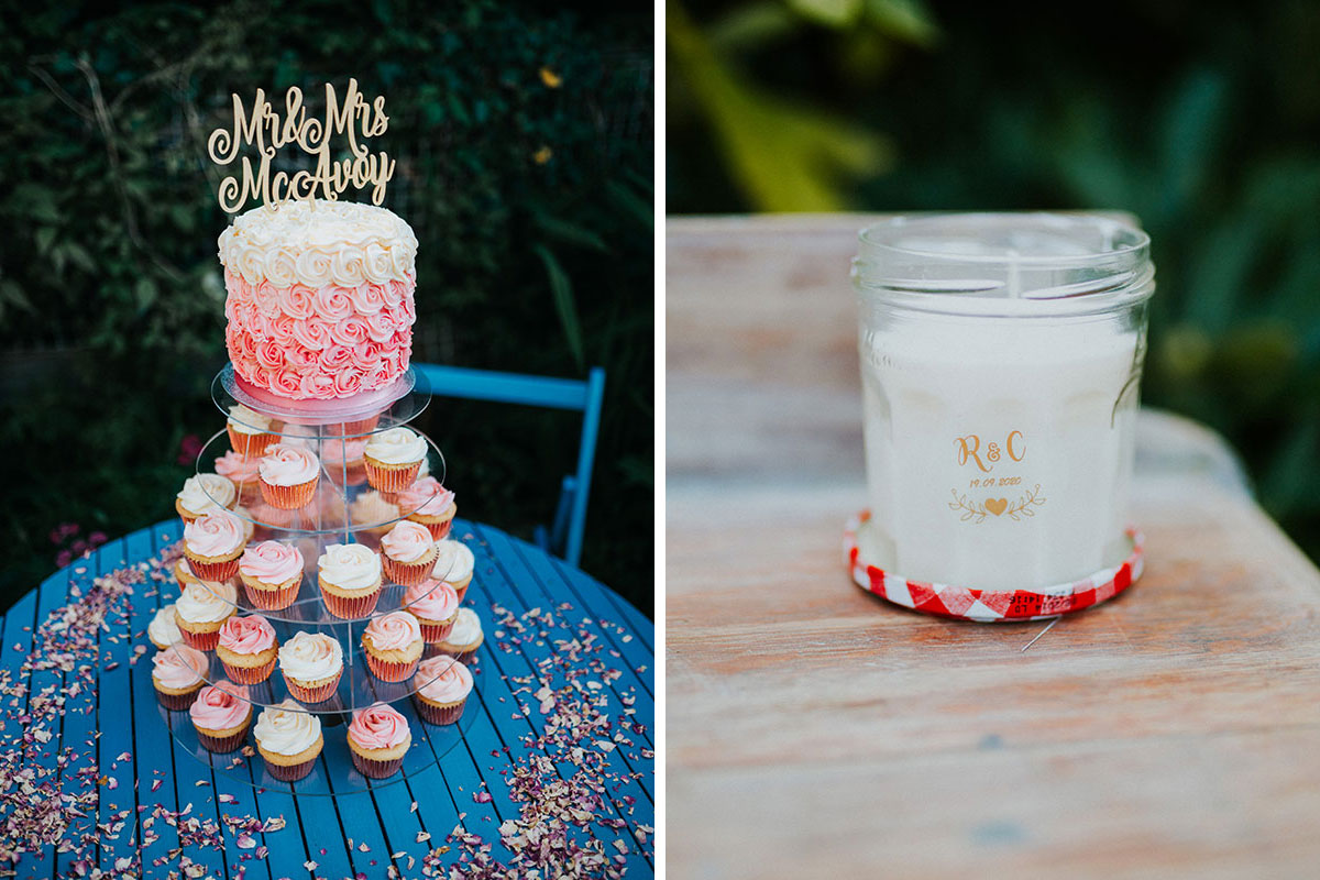pink cupcakes and pink ombre wedding cake by Sweet Little Things Edinburgh and personalised jam jar wedding candle