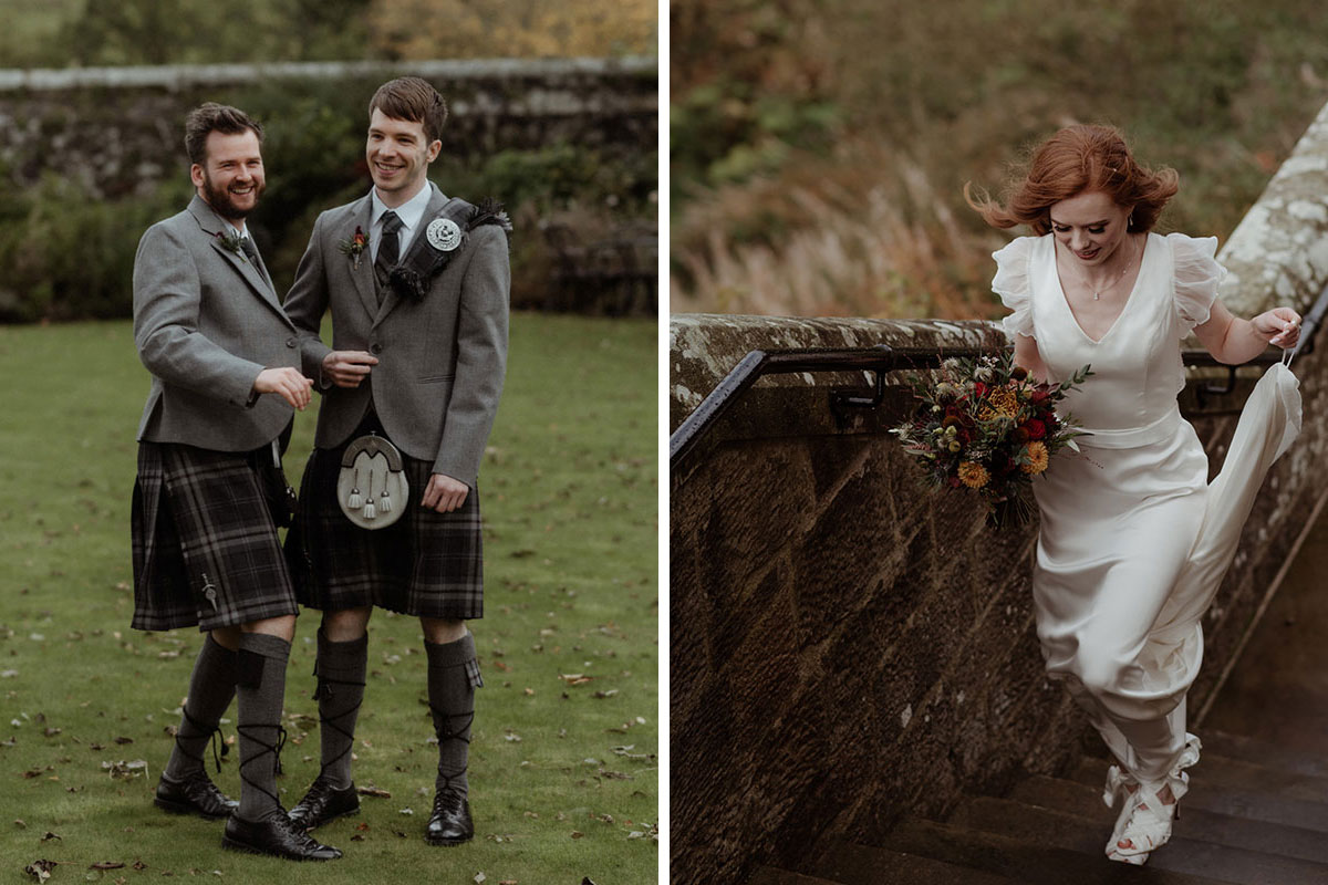 groom and best man wearing grey MacGregor and MacDuff kilt outfits on grass outside Borthwick Castle and bride walking up stone stairs outside Borthwick Castle