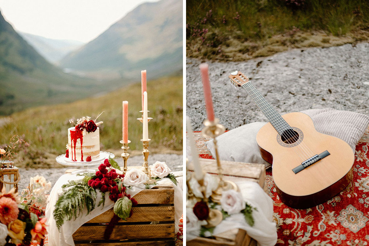 wild picnic wedding set up in Glen Coe with guitar on Persian rug