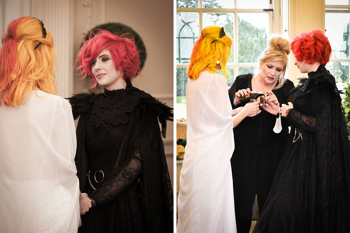 two brides at Halloween wedding ceremony at Chatelherault and celebrant pouring drink for quaich