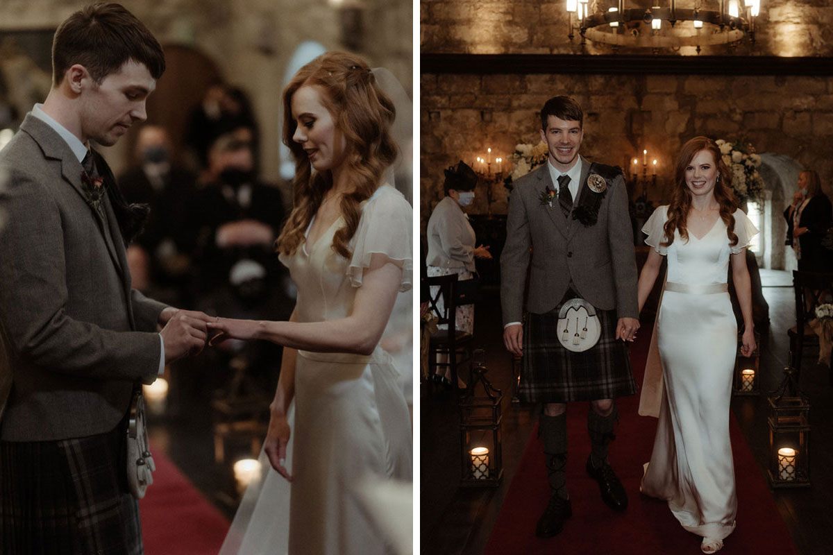 bride and groom exchanging rings and walking up aisle at Borthwick Castle