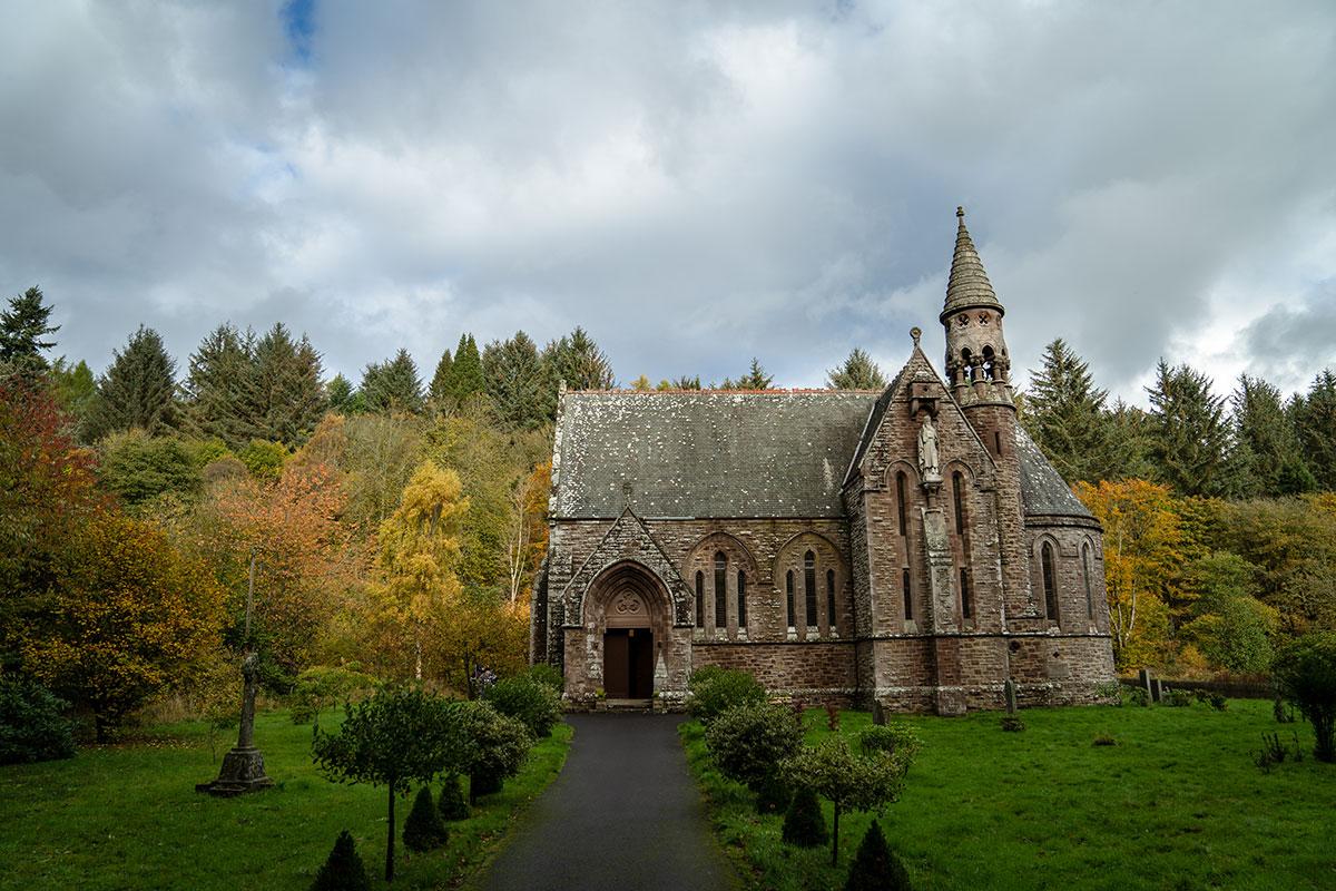 St Palladius church exterior at Drumtochty Castle