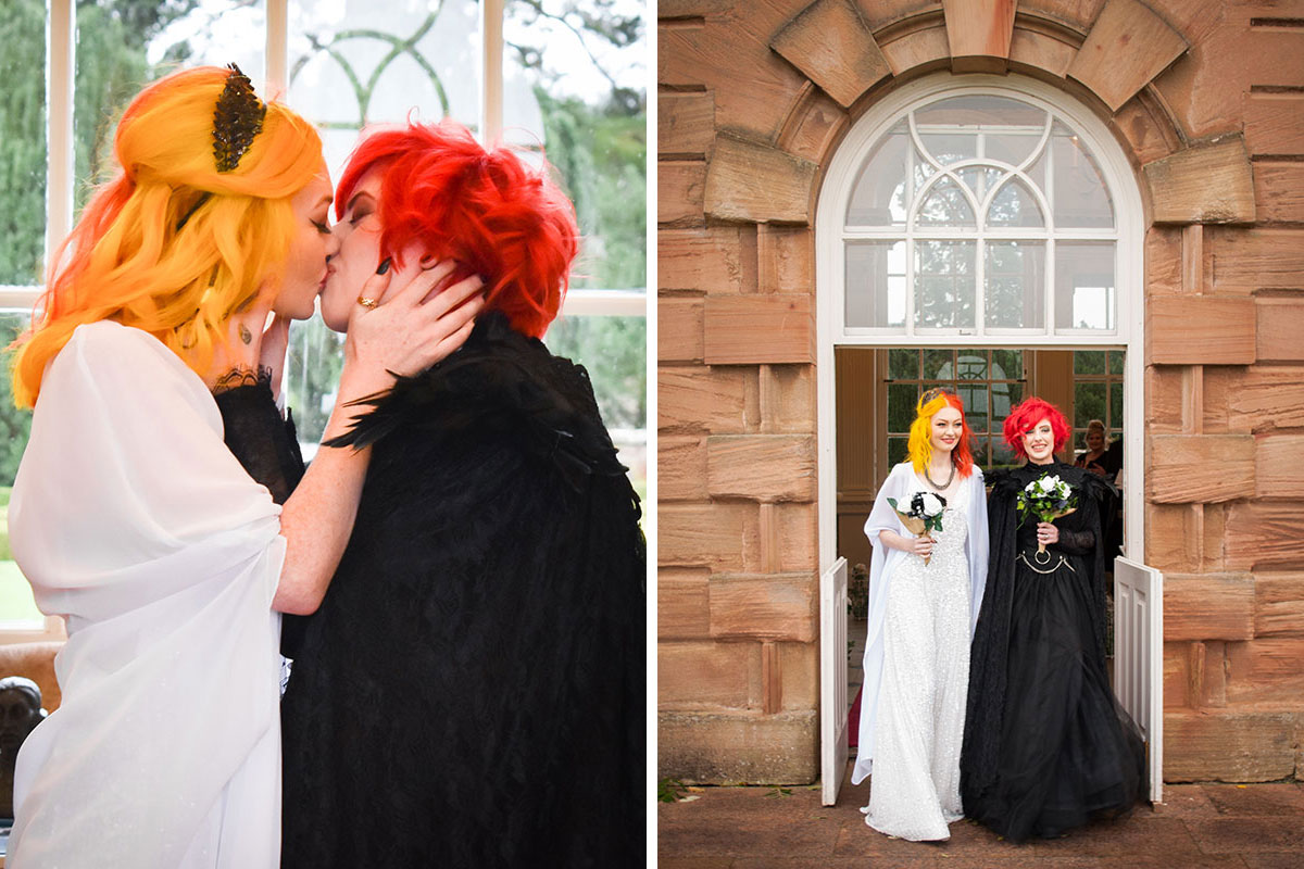 two brides with brightly coloured hair kissing at Halloween wedding at Chatelherualt and leaving venue