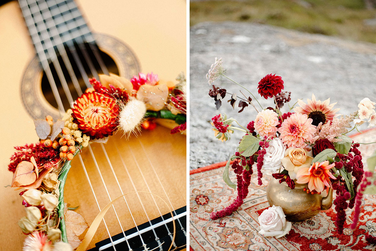 wedding flowers on guitar and in gold vase on persian rug by Bothy Blooms