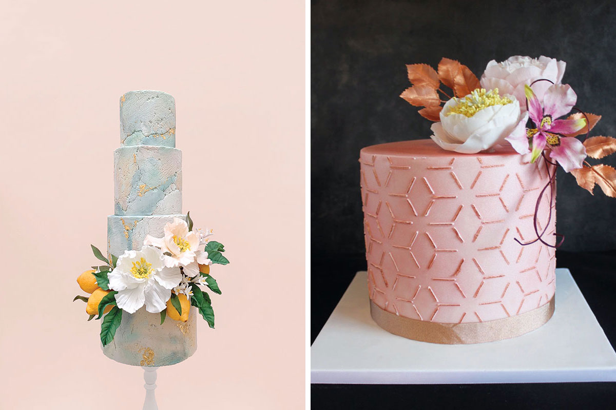Lemon and poppy wedding cake by Butter & Bodoni and rose gold geometric line wedding cake with pink and orange flowers by Gorgeously Sweet Cake Emporium