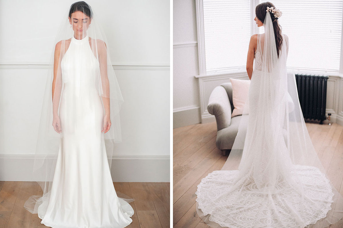 Two brides wearing veils by Eliza Loves
