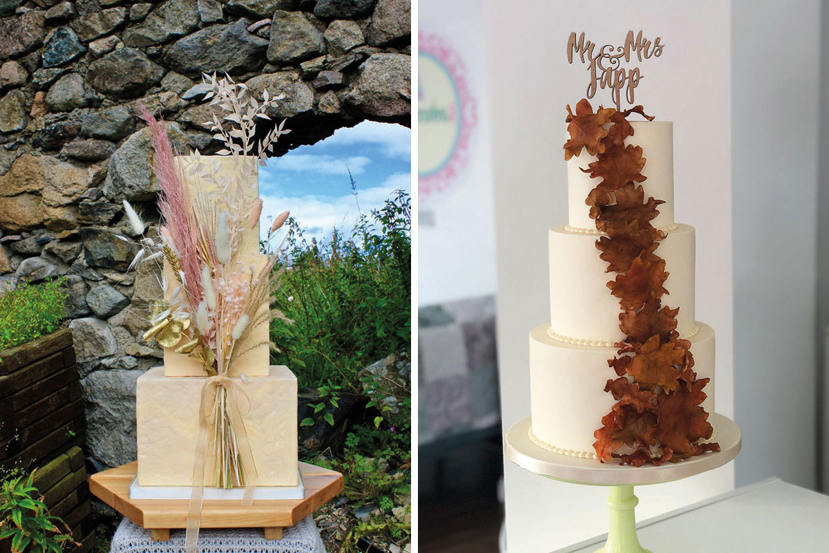 Square tiered cream wedding cake with pampas grass and bunny tail decor by Gorgeously Sweet Cake Emporium and white and autumn leaves wedding cake by Jappacakes