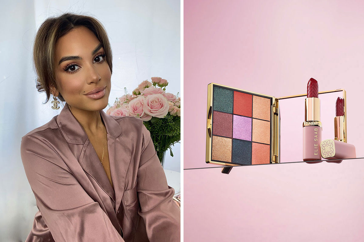 Model wearing dusky pink silk pyjamas and still life image of L'Oreal Paris Elie Saab makeup palette and lipstick