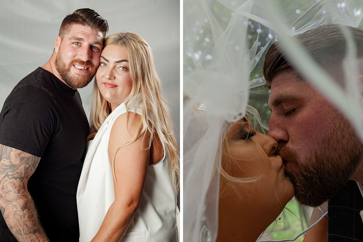 Pend Studio man and woman posing for engagement shoot in studio and same couple kissing under veil on wedding day