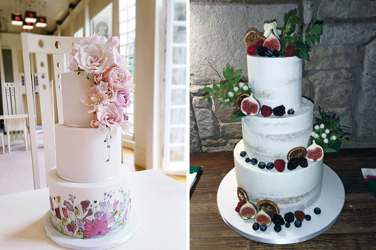 Watercolour pink floral wedding cake by Rosewood Cakes and naked buttercream cake with berries and figs by Jappacakes