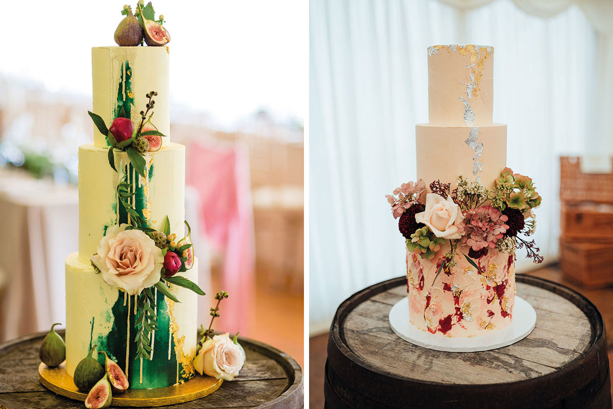 Two colourful wedding cakes by Ruby & Pearl Cake Art