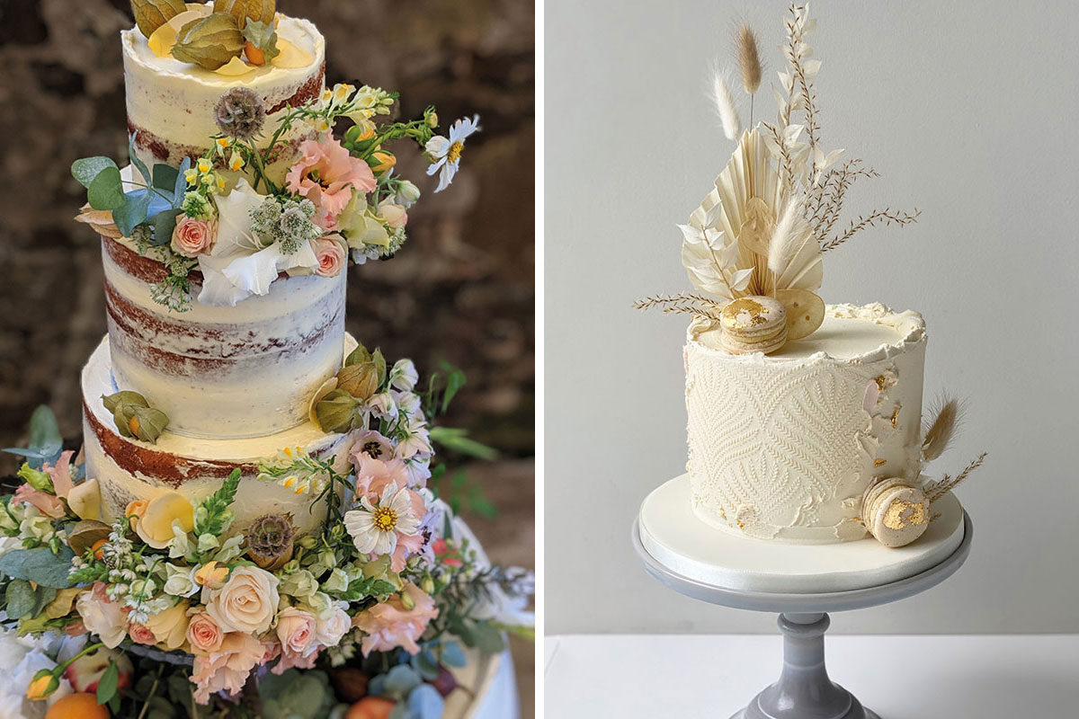 Semi-naked buttercream wedding cake dressed with fresh pink and yellow flowers by Rustic Cake by Annie and small leaf textured ivory wedding cake with gold leaf macarons and bunny tails by Liggy's Cake Company
