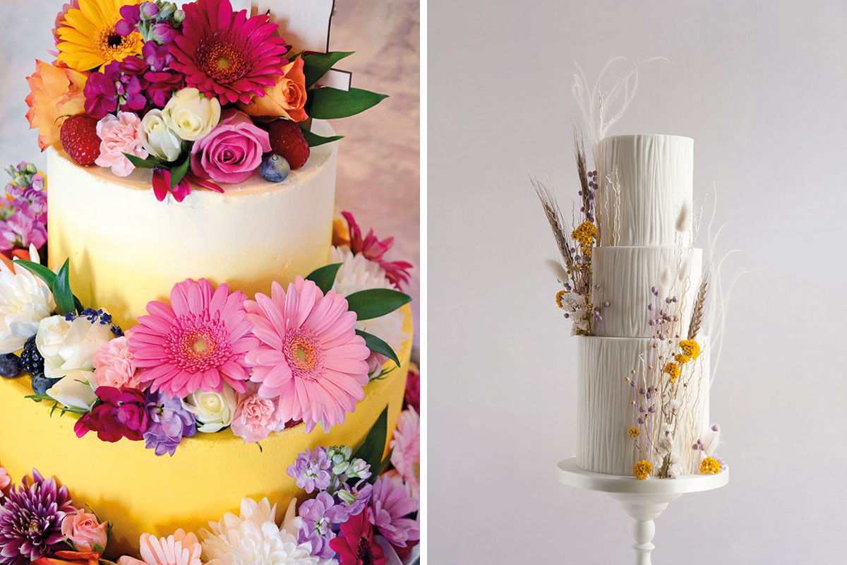 Brightly coloured floral wedding cake by Three Sisters Bake and textured buttercream cake with dried flower decoration by Liggy's Cake Company