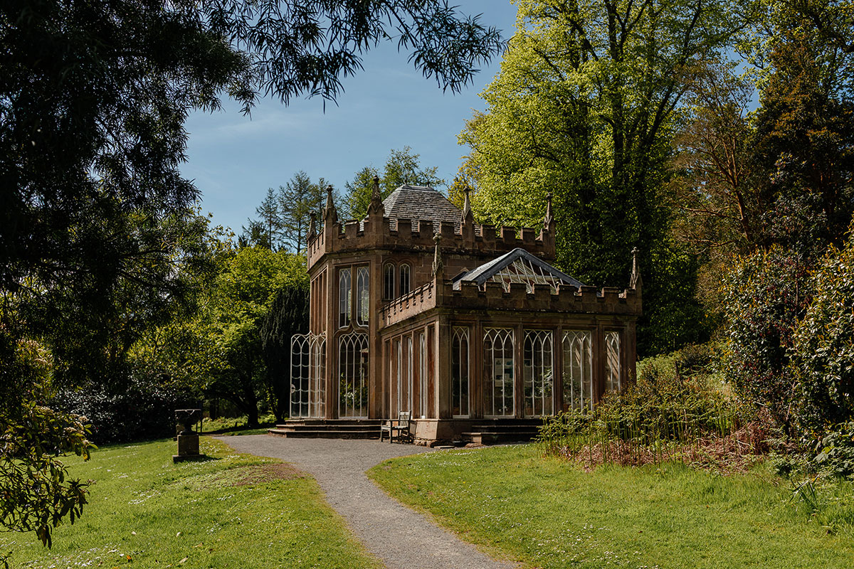exterior view of the Camellia House at Culzean Castle on a sunny day