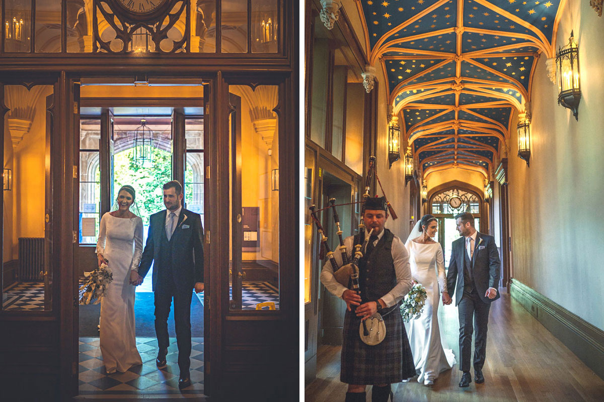bride and groom entering Lews Castle being piped in by bagpiper