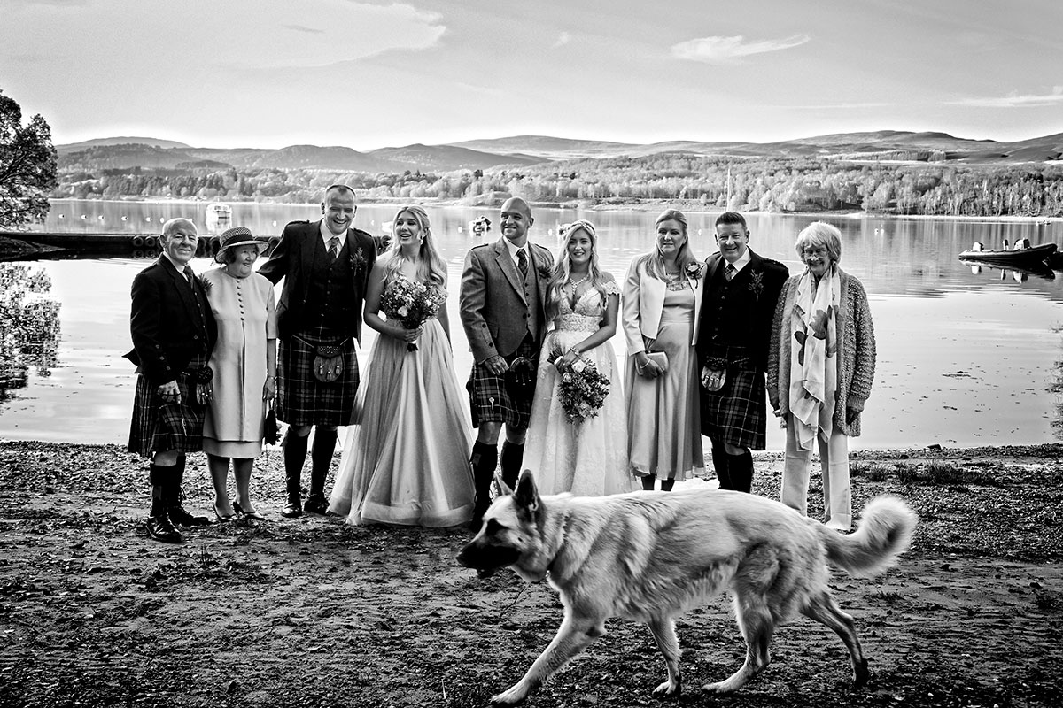 black and white image of wedding guests and bride and groom at Loch Insh with dog walking in foreground
