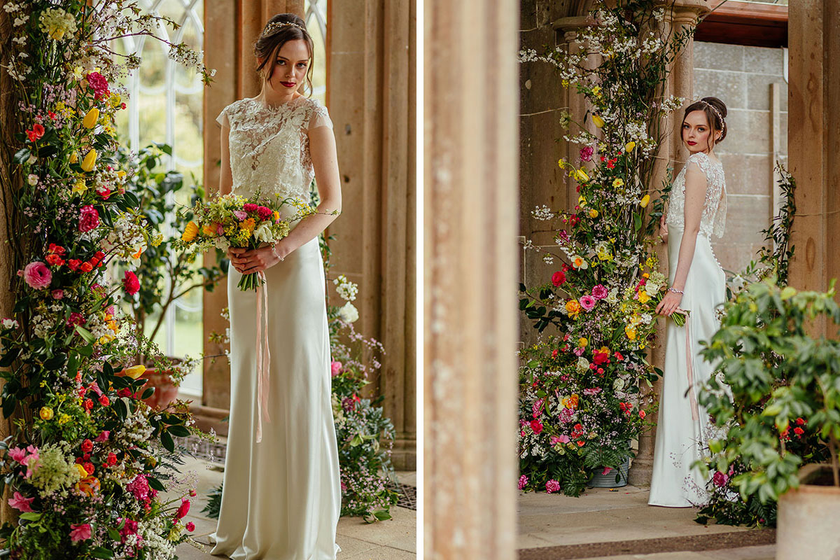 front and back image of bride in the Camellia House at Culzean Castle wearing lace topped wedding dress by Flossy and Dossy