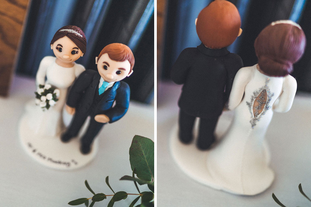 back and front of a lookalike bride and groom cake topper