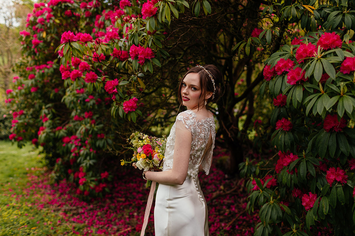 bride looking over shoulder in grounds of Culzean Castle with pink hydrangea bush in background