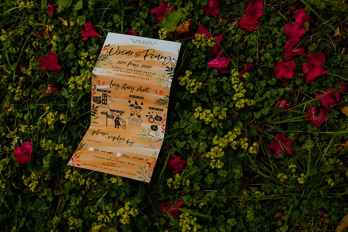 wedding invite by Two Tabbies in floral bush at Culzean Castle