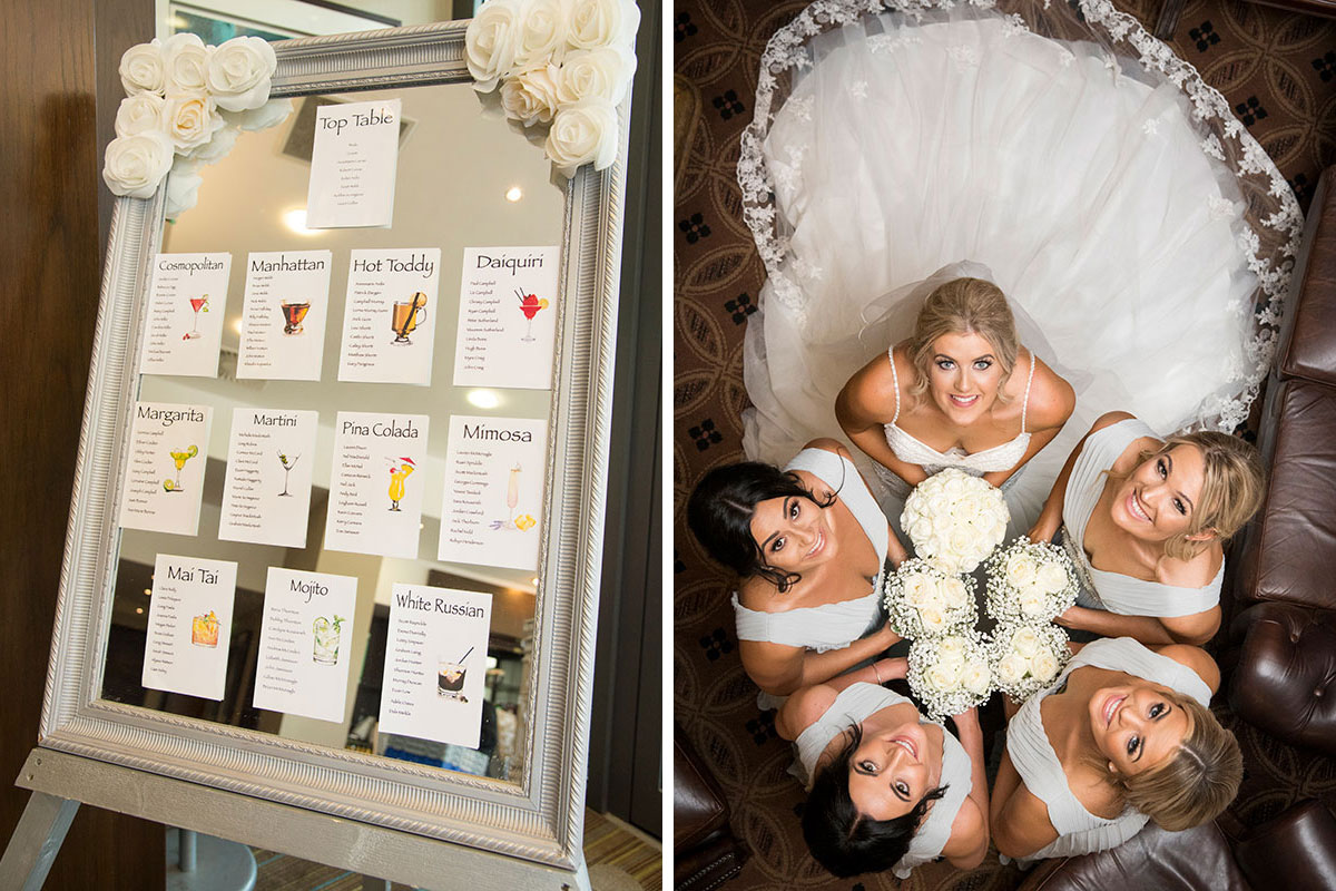 white wedding seating plan on a mirror with tables named after cocktails and aerial image of bride and 4 bridesmaids looking up towards camera