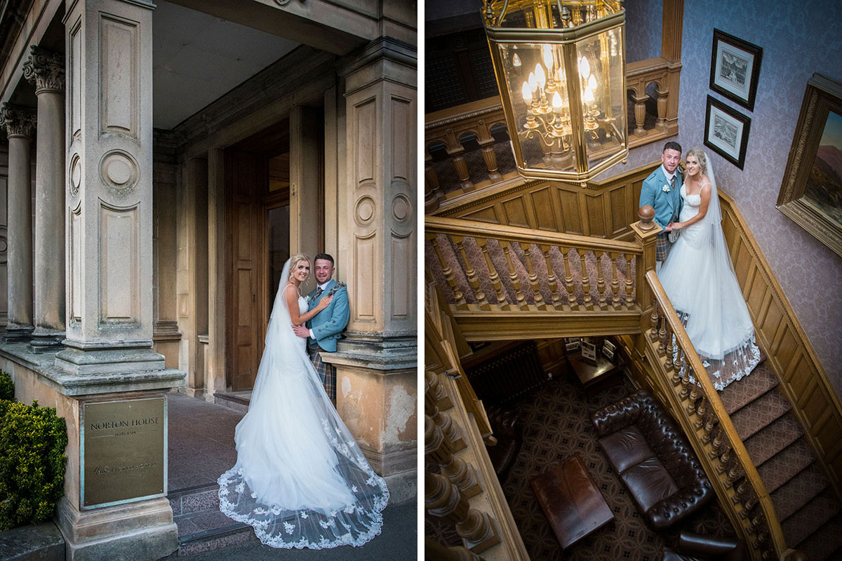 bride and groom posing outside and inside on staircase at Norton House Hotel