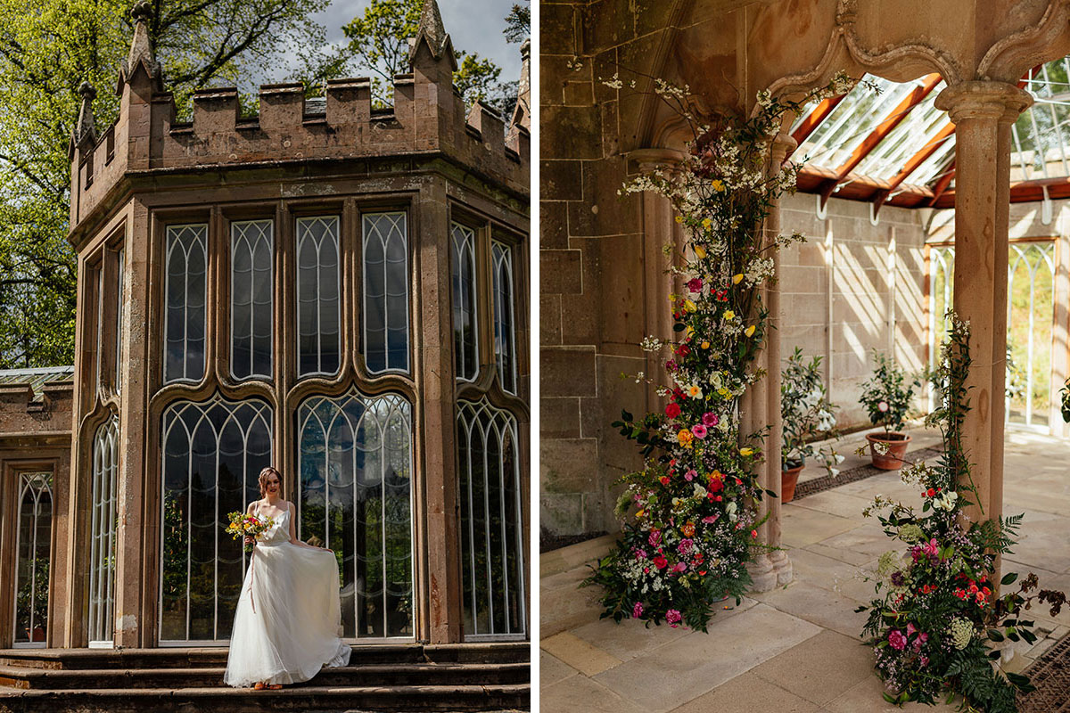 a bride walking down the stairs at the Camellia House Culzean Castle and inside with floral installations by Bridal Rose Design