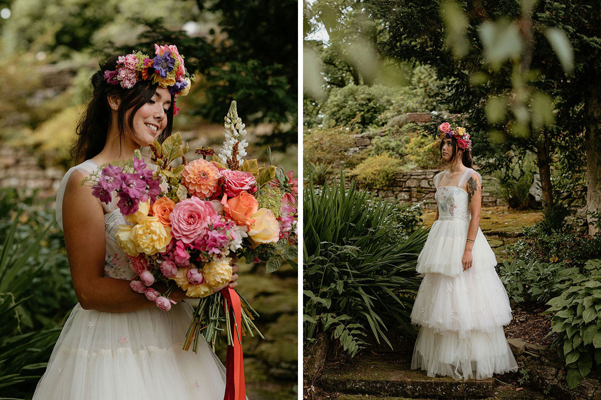 alternative colourful styled shoot with bride wearing wedding dress by Rowan Joy with bouquet and flower crown by Adelaide's Secret Garden