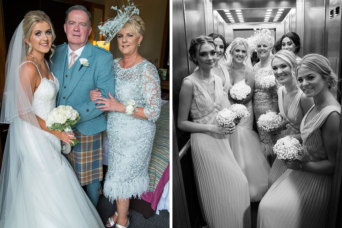a bride posing with her mum and dad and women in a lift