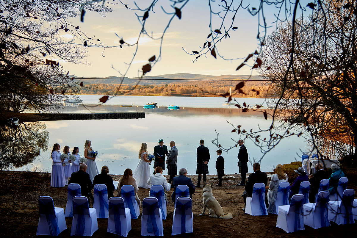 wedding ceremony on the shores of Loch Insh
