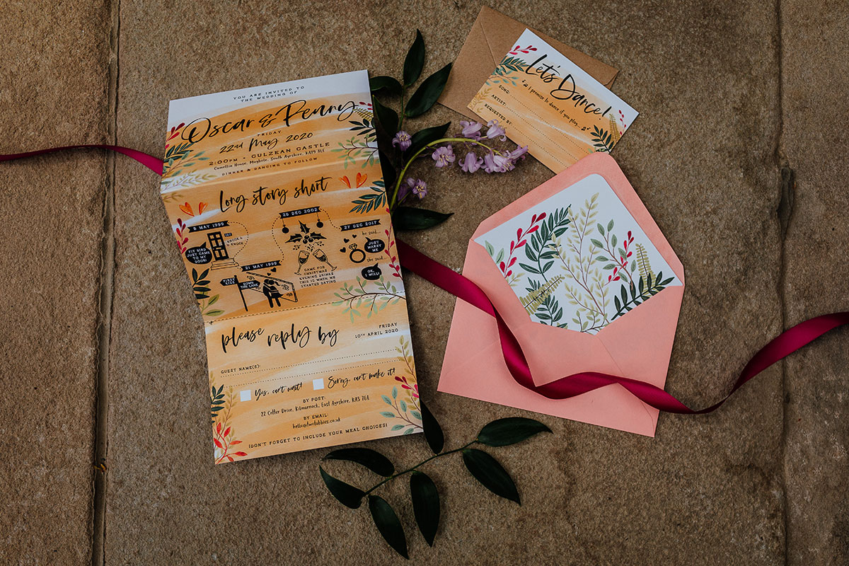 wedding stationery by Two Tabbies pictured on stone floor