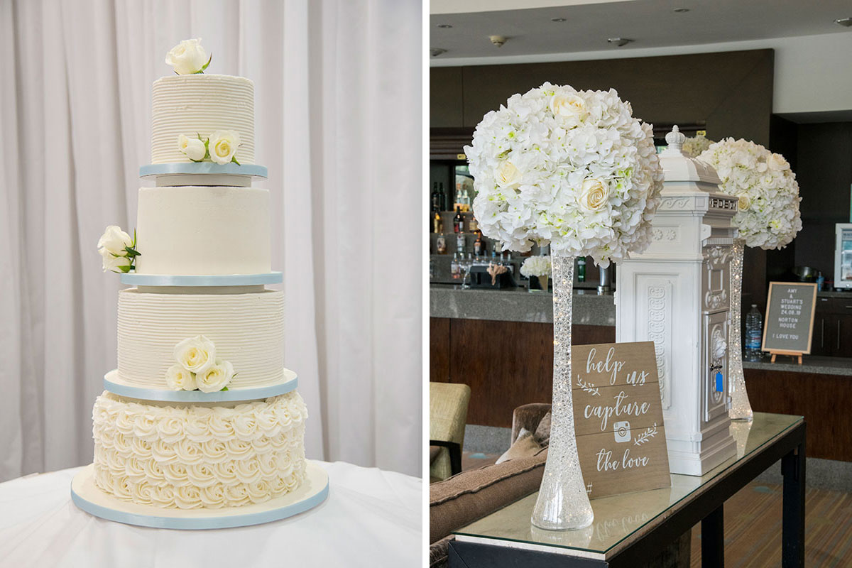 white four tier wedding cake and various flower displays at a wedding at Norton House Hotel