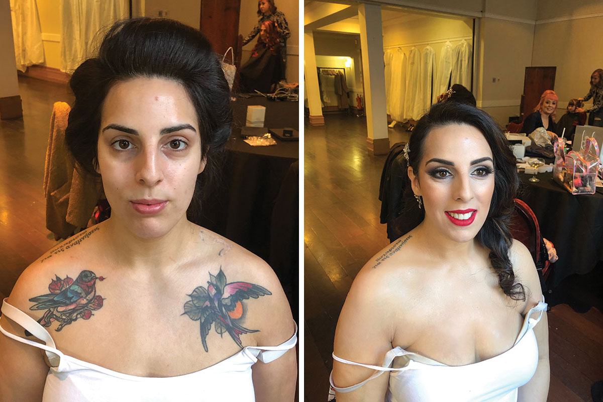 A before and after image of a black-haired bride after having her chest tattoos covered up by Makeup by Leigh Blaney