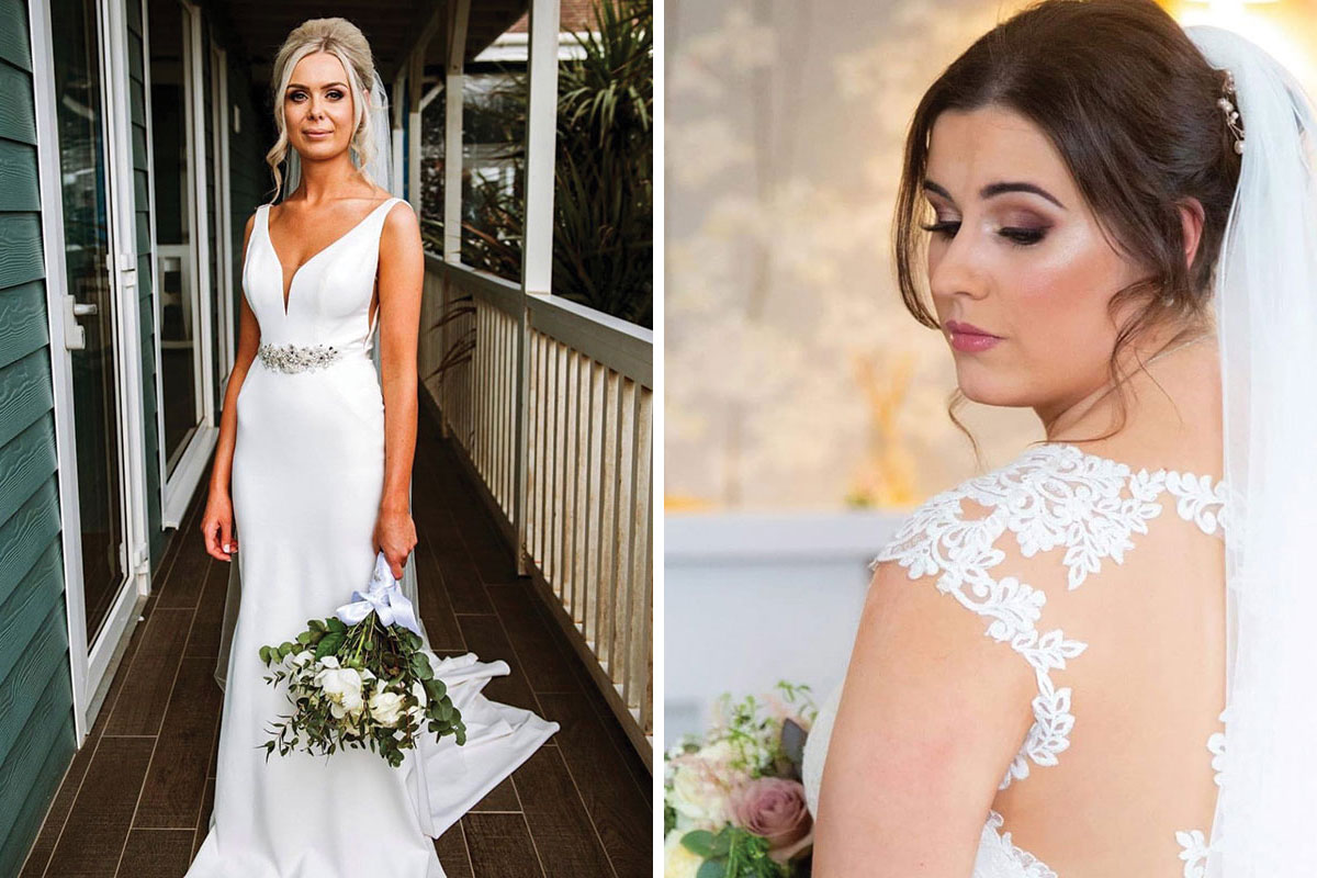 A blond bride standing on a balcony at The Waterside Hotel wearing makeup by I Do Makeup by Geo Kane and a dark-haired bride looking over her shoulder with wedding makeup by Nadine Grant Makeup Artist