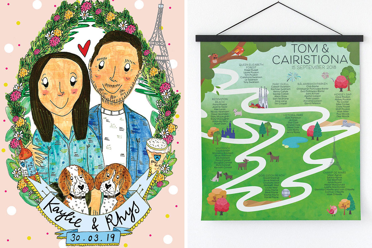 Claire Barclay illustrated couple wedding invite and personalised table plan by Origami Fox