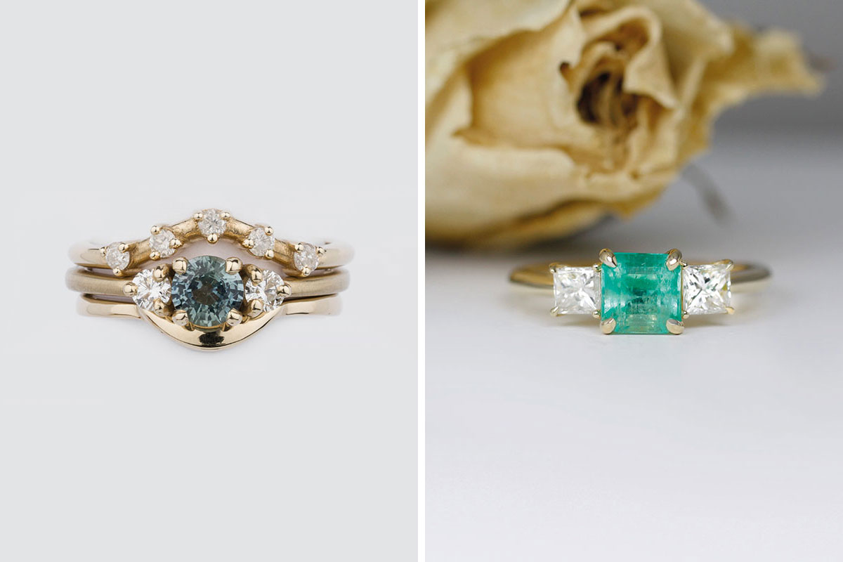 Dark blue stone and diamond yellow gold stack of three wedding and engagement rings by Jane Harrison Jewellery and emerald and diamond trilogy stone engagement ring by Brazen Studios