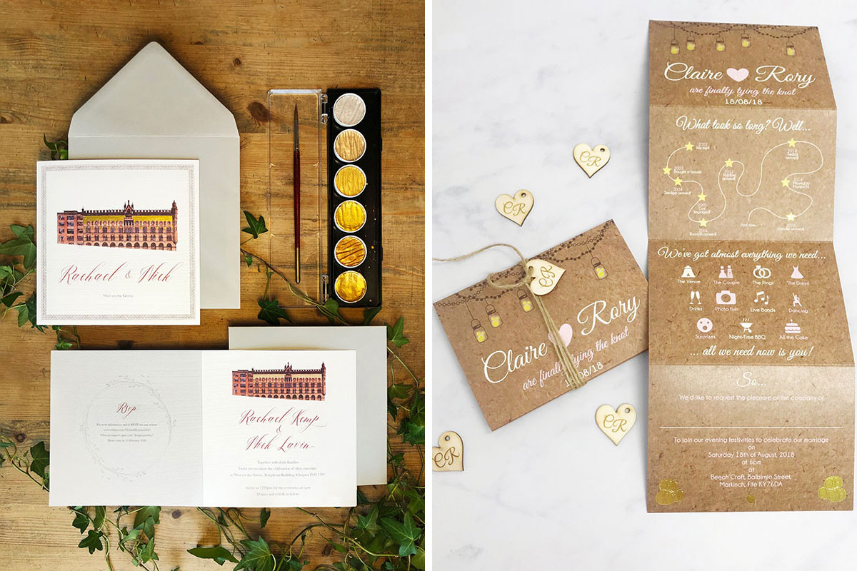 Illustrated wedding stationery of Templeton Carpet Factory and WEST Brewery in Glasgow by Wedding Artwork by Daria and gatefold personalised wedding invite by Caledonian Cowgirl