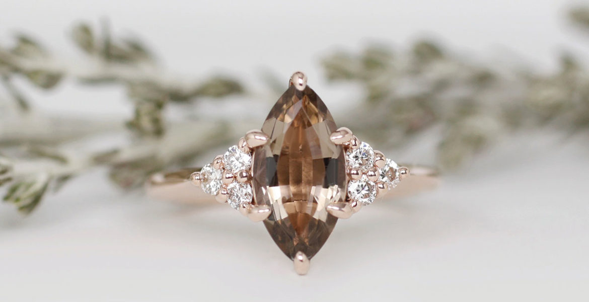 Brown quartz and white marquise cut diamond rose gold ring by Brazen Studios