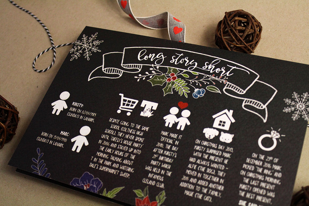 Two Tabbies long story short personalised black and white typographic wedding stationery