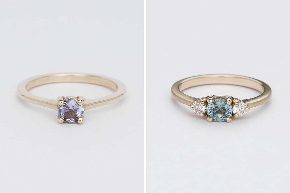 Two coloured stone engagement yellow gold bespoke engagement rings by Jane Harrison Jewellery