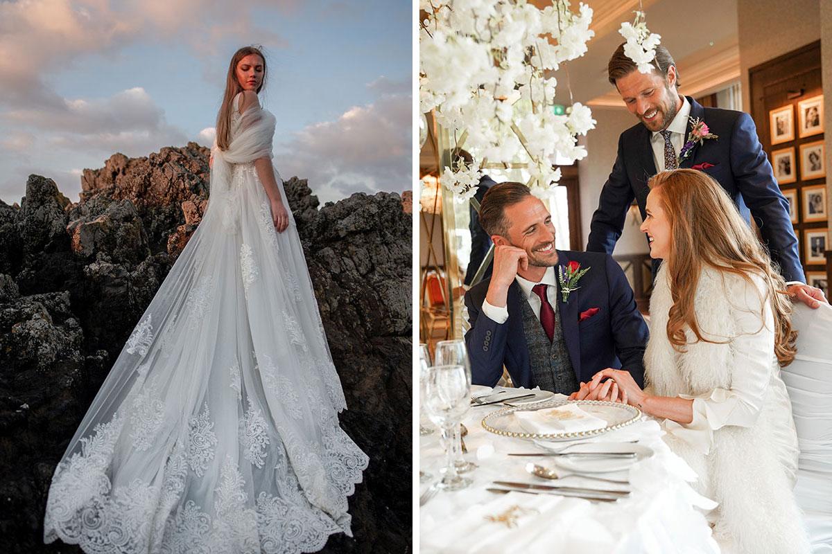 A bride stands on some rocks wearing a wedding dress by Opus Atelier; two men in groomswear speak to a bride in a long-sleeved wedding dress