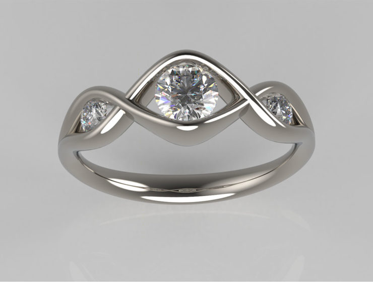 CAD impressions of a diamond engagement ring by Sandy Menzies Jewellery Design