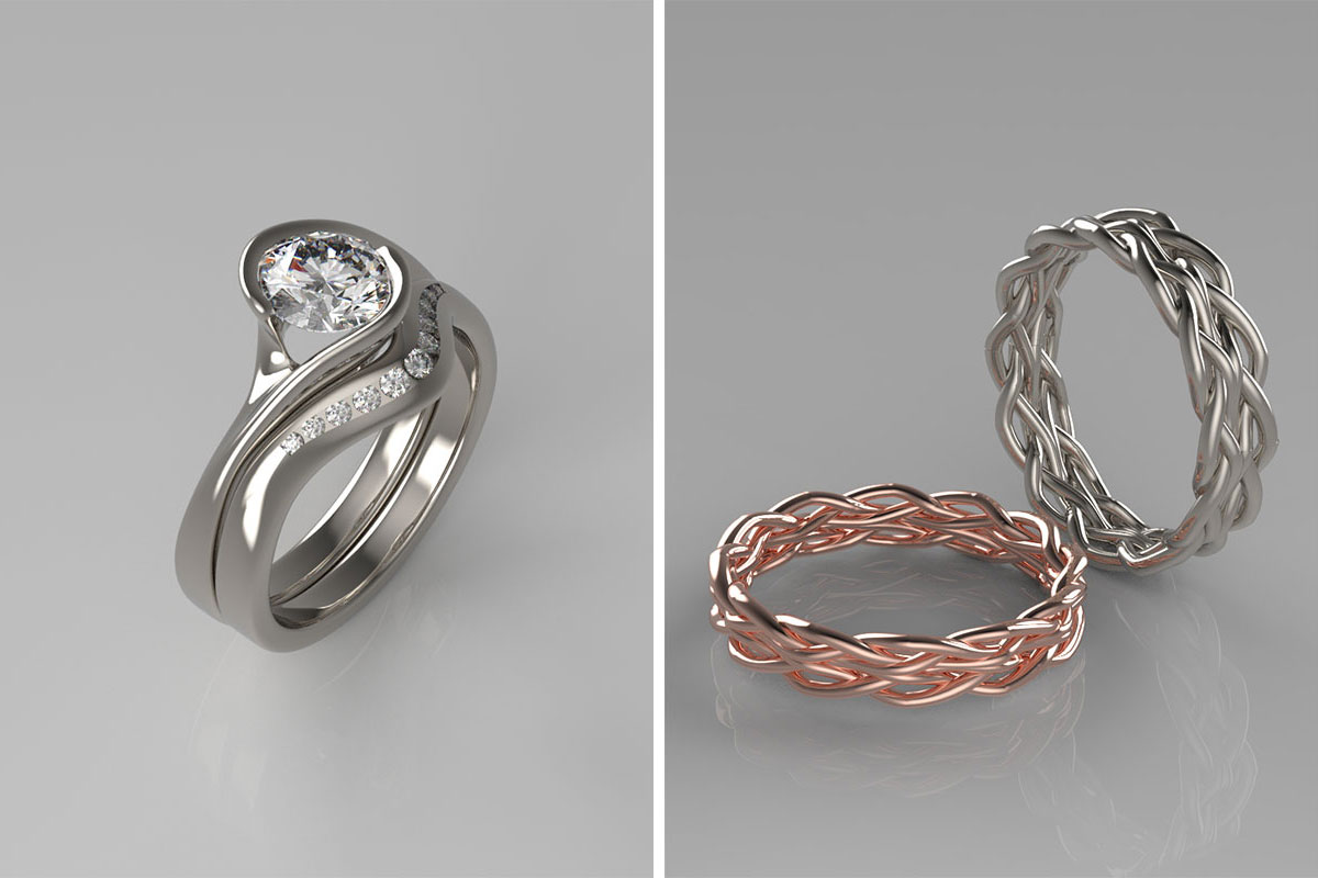 CAD impressions of three rings by Sandy Menzies Jewellery Design
